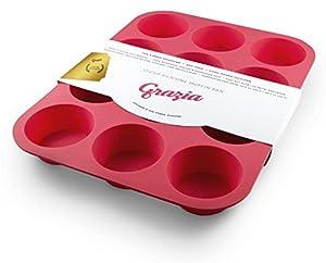Amazon Com Grazia Silicone Muffin Pan Red 12 Cup