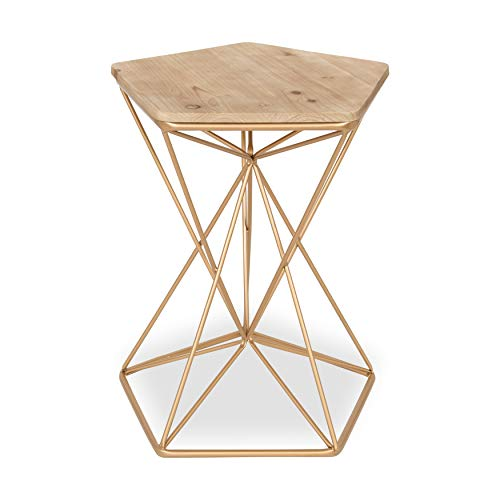 Kate and Laurel Ulane Modern Side Accent Table with Geometric Metal Base and Unfinished Natural Wood Top, Gold