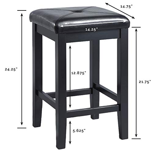 Crosley Furniture CF500524-BK Upholstered Square Seat Bar Stool Set of 2 , 24-inch, Black