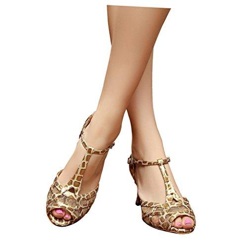 Zapatillas De Danza Para Dorado Mujer Misu Negro Txdngw0FdW