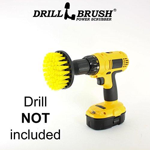 4 Inch Diameter Power Spinning Detailing Nylon Scrub Brush With Quarter Inch Quick Change Shaft