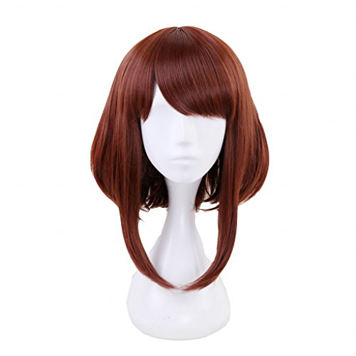Ani·Lnc Short Brown Synthetic Cosplay Wig For Women Christmas Party Wigs with free Cap ()