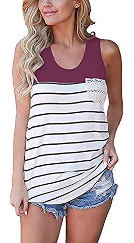 Chvity Women's Crochet Pocket Color Block Sleeveless T-Shirts Racerback Tank Tops (S, Purple)