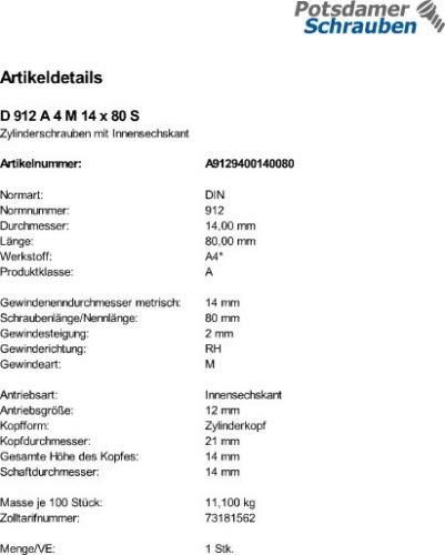 1 Edelstahl V4A Inbus Zylinderkopfschrauben DIN 912 A4 M14x80