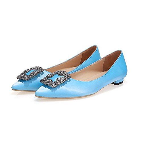 Amoonyfashion Womens Pull-on Puntige Dichte Hoge Hakken Stevige Pumps-schoenen Lichtblauw1cm