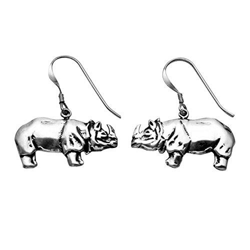(Sterling Silver Rhino Wire Earrings)