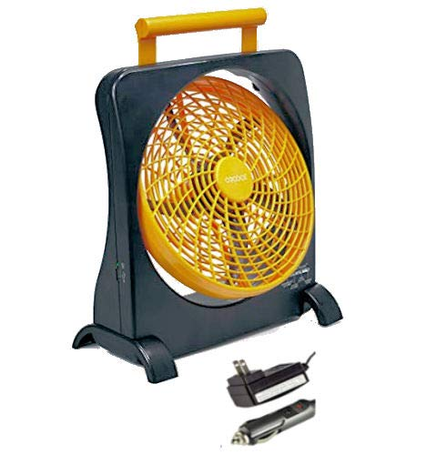 O2COOL 10-Inch Battery Operated Fan - Portable with Internal Rechargeable Battery, Multiple Power Options - AC / DC Adapter, USB Port for Emergencies, Camping, Travel, Indoor and Outdoor Use (Orange) by O2COOL