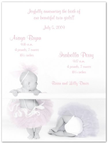 (2 Ballerina Babies Twins Birth Announcements - Set of 20)