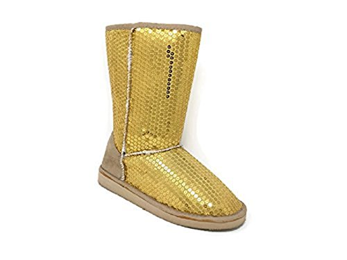Women's Mid Calf Warm Sequin Winter Snow Boots Booties Shoes (Gold) (10) (For Sequin Boots Women Winter)