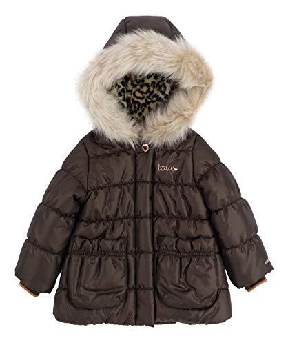 London Fog Toddler Girls Parka Puffer Winter Coat Attached Hood, Brown (3T) ()