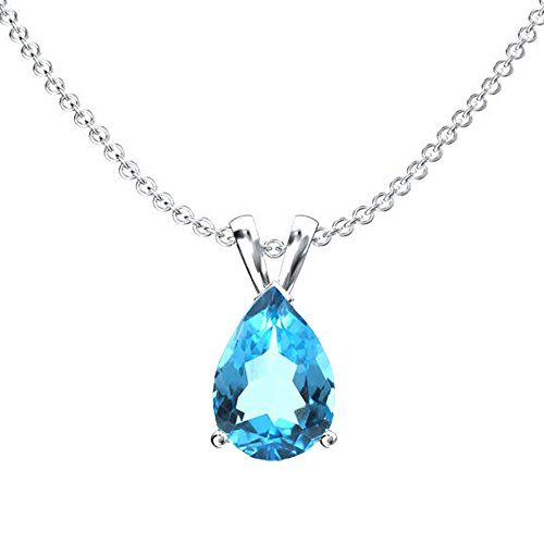 DazzlingRock Collection 10K White Gold 9x7 mm Pear Cut Blue Topaz Ladies Solitaire Pendant (Silver Chain Included) Blue Topaz Color Solitaire