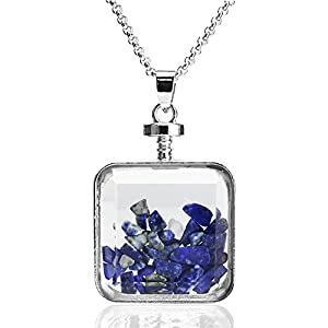BEADNOVA Square Glass Wishing Bottle Pendant Crystal Healing Synthetic Lapis Lazuli Gemstone Chip Beads Sweater Chain Pendant Necklace