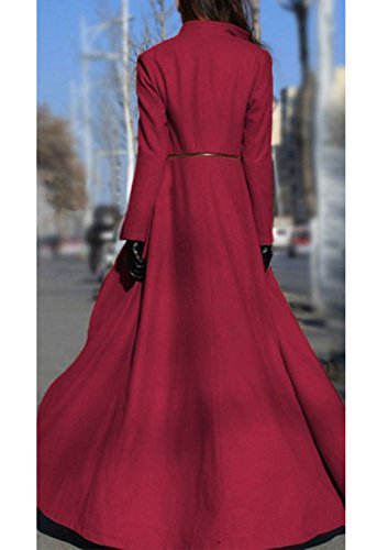 Zilcremo Autumn Woolen Trenchcoat Maxi Red Classic Swing Solid Long Outwear Winter Elegant Sleeve Women rZvq5xr