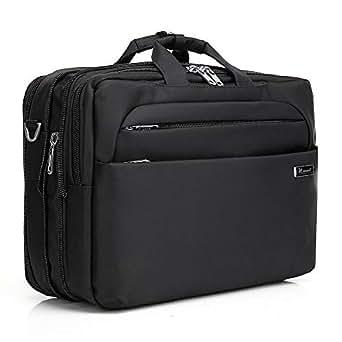 Kroeus 3-way Available Hidden Strap Expandable Large Shoulder Bag Fits 15.6 inch Laptop Computer PC Briefcase Waterproof business bag for men and women Black