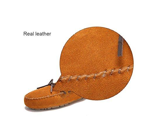 Moda Donna Vera Pelle Mocassini Cutty Shearling Pantofole Marrone