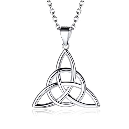 ChicSilver Celtic Jewelry 925 Sterling Silver Good Luck Irish Celtic Knot Triangle Vintage Pendant Necklaces, Rolo Chain ()