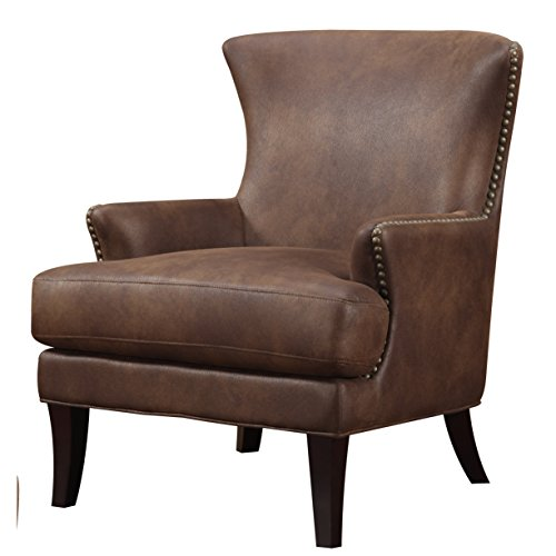 Emerald Home Nola Brown Accent Chair with Faux Suede Upholstery And Nailhead Trim (Upholstered Chair Suede)