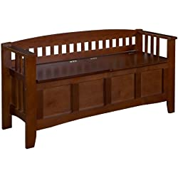 Linon Home Decor Storage Bench with Short Split Seat Storage, Walnut