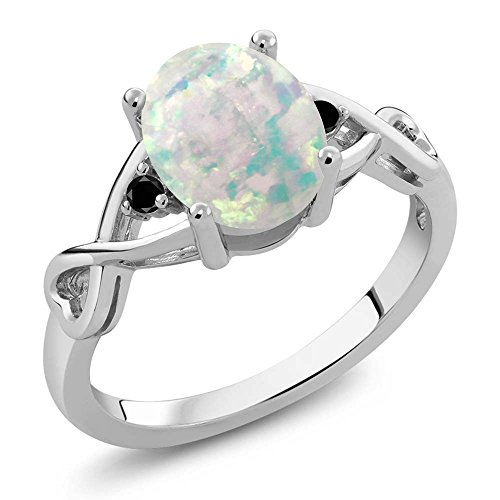 Gem Stone King 0.66 Ct Oval Cabochon White Simulated Opal Black Diamond 925 Sterling Silver Ring (Size 6)