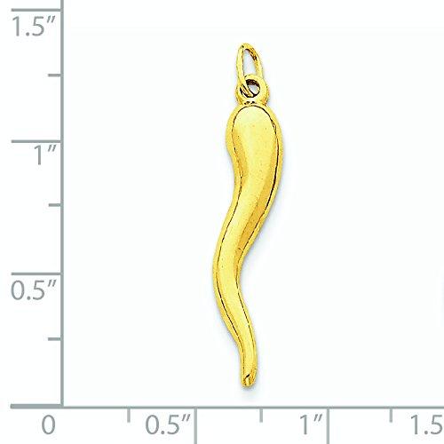 14k Yellow Gold Italian Horn Charm - Measures 29x5mm - JewelryWeb