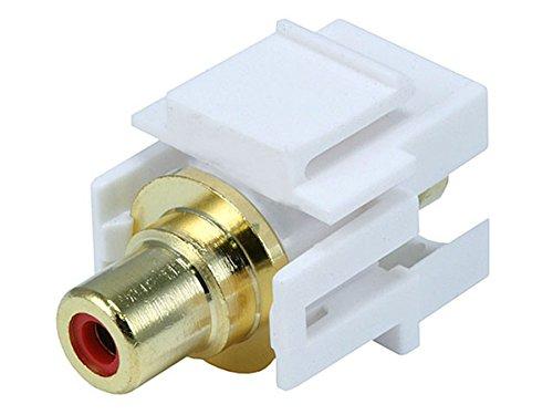Monoprice 106566 Keystone Jack-Modular RCA with Red Center Flush Type, White