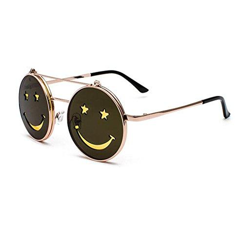 punk metal marco estilo de Gafas sol de Clásico Smiley Dorado Amarillo redondo Flip Hippie marco retro no polarizado wEOfZO