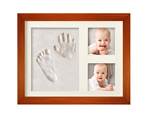 Bubzi Co Baby Handprint Kit & Footprint Photo Frame for Newborn Girls and Boys, Unique Baby Shower Gifts Set for Registry, Memorable Keepsake Box Decorations for Room Wall or Nursery Decor Baby Nursery Photo Frame
