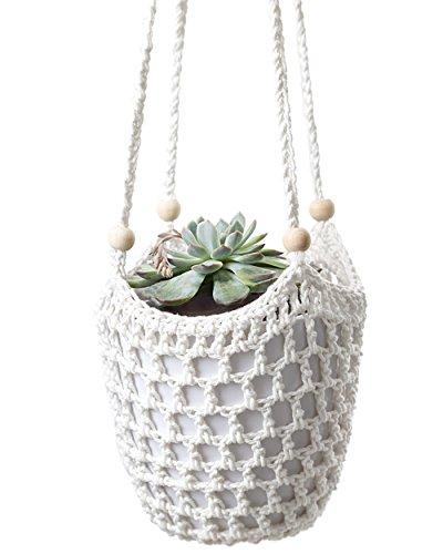 Mkono Macrame Plant Hanger Crochet Hanging Planter Indoor Outdoor Basket with Wooden Beads, 34 Inch