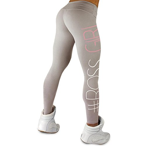 f1115979474f7 Han Shi Yoga Leggings, Women colorful Letter Print High Waist Sports Gym  Fitness Pants (