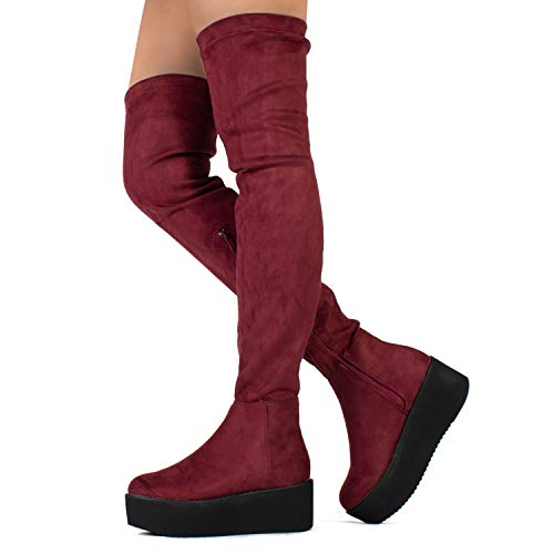 Pinot-23 Women's Narrow Calf Fit High Platform Side Zip Opening Over The Knee Boots Wine (10)