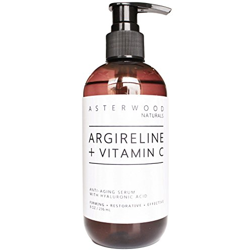 ARGIRELINE Peptide + Vitamin C 8 oz Serum with Organic Hyaluronic Acid - Anti Aging, Amazing Sun Damage Repair & Botox Alternative - ASTERWOOD NATURALS - Pump Bottle