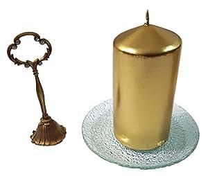 Metálico Oro H15X W7cm sin aroma Pilar Vela & vertical apagar y placa de cristal con textura Set