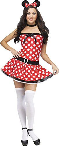 [Fun World Costumes Women's Mousie Adult Costume, Red/White, Medium/Large] (Female Mickey Mouse Costumes)