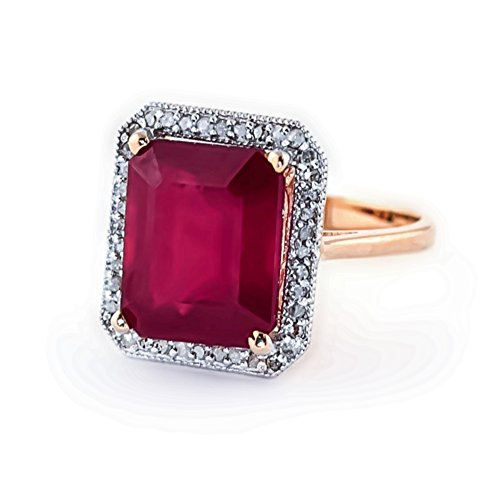 7.45 Carat 14K Solid White Rose Yellow Gold Emerald Cut Ruby Halo Design with Natural Diamond Ring 4894 (Rose-Gold, 9.5) by Galaxy Gold (Image #3)