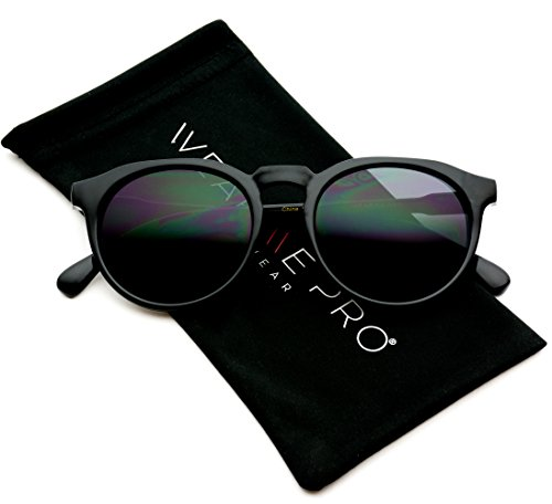 WearMe Pro - Retro Unisex Round Mirrored Fashion Sunglasses (Full Black, 52)