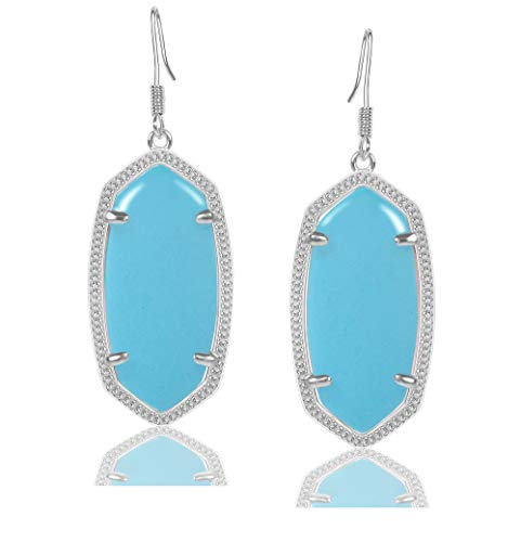 Fashion Metal Oval Crystal Quartz Drop Dangle Earrings for Women ()