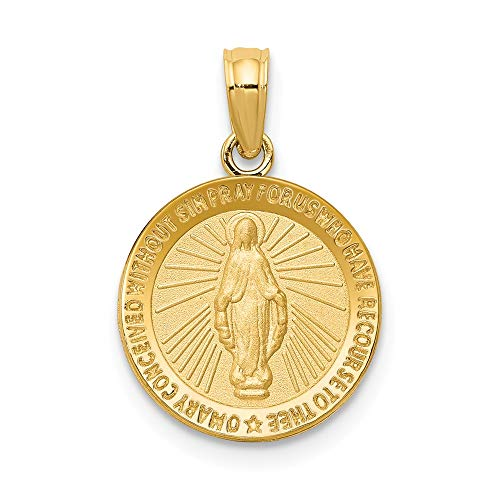 14k Yellow Gold Miraculous Medal Pendant Charm Necklace Religious Fine Jewelry Gifts For Women For Her ()