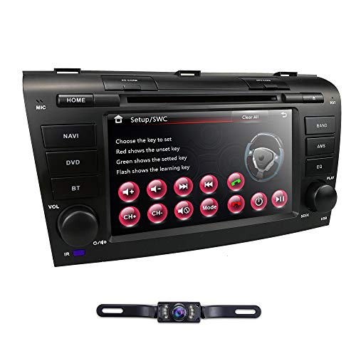 - hizpo 7 inch Double Din in Dash HD Touch Screen Car DVD Player GPS Navigation Stereo for Mazda 3 2004 2005 2006 2007 2008 2009 Support Navi/Bluetooth/SD/USB/FM/AM Radio/3G/DVD/1080P + Free Camera