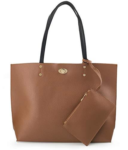 Women's Tote Color-Block Pebbled Faux Leather Shoulder Handbag With Zipper Pocuh Wristlet (Brown)