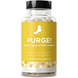 PURGE! Uric Acid Cleanse & Healthy Joint Support - Flare-Ups, Chronic Pain, Swelling Inflammation - Celery Seed & Tart Cherry - 60 Vegetarian Soft Capsules