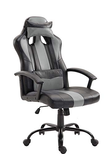 Unifull Ergonomic Large Size Computer Racing Gaming Chair Leather Swivel Executive Office Home Chair with Adjustable Headrest & Lumbar Support(Black)