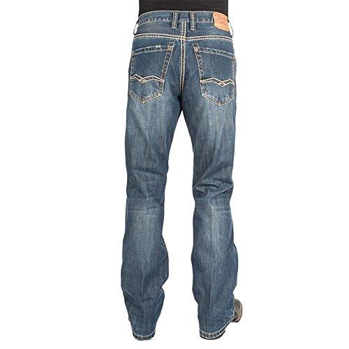 (Stetson Men's 1312 Modern Fit Pieced Back Pocket Blue Jeans 27 X)