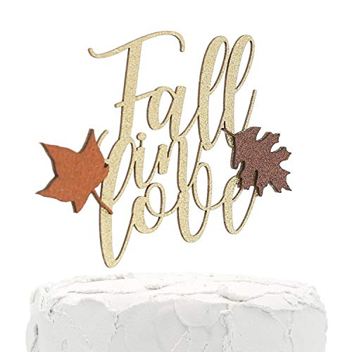 Fall In Love Banner (NANASUKO Cake Topper - Fall in love - Double Sided gold glitter with fall colors leaves - Premium quality Made in)