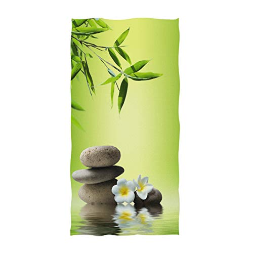 Naanle 3D Spa Style Bamboo and Stones on Water Print Soft Guest Hand Towels Multipurpose for Bathroom, Hotel, Gym and Spa (16