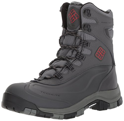 Columbia Men's Bugaboot Plus Omni-Heat Michelin Snow Boot, Charcoal, Bright Red, 10 D (Columbia Leather Snow Boots)