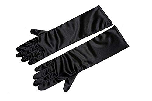 Satin Gloves, Audrey Hepburn Breakfast at Tiffany's, Black,