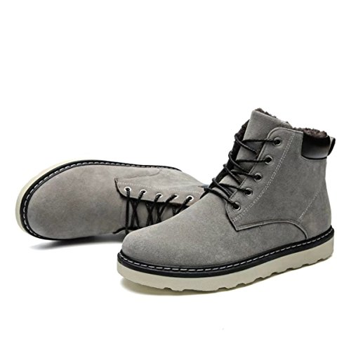 Winter High Boots Shoes Fur Lining Up Ankle with Hiking Snow Swede Sneakers Mens Leather Top Grey Lace wqRP7zn