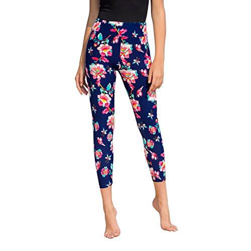 Weavers Women's Ultra Soft Fashion Printed Ankle Leggings Stretch High Waist Yoga Workout Pants (Garden on Navy)