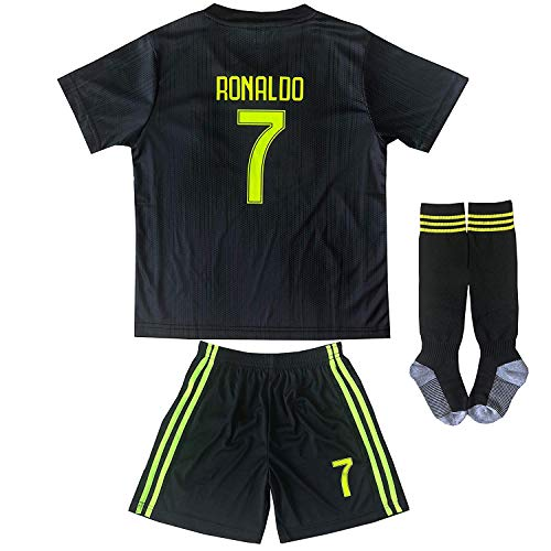 58225051af FCM 2018 2019 New  7 Cristiano Ronaldo Kids Third Soccer Jersey   Shorts  Youth Sizes (Third (New Juve)