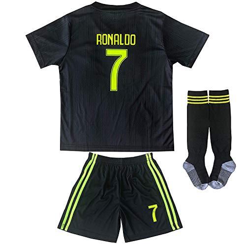 0cef82339 FCM 2018 2019 New  7 Cristiano Ronaldo Kids Third Soccer Jersey   Shorts Youth  Sizes (Third (New Juve)